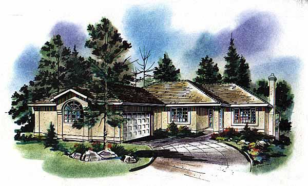 Florida, One-Story House Plan 58636 with 3 Beds, 2 Baths, 2 Car Garage Elevation