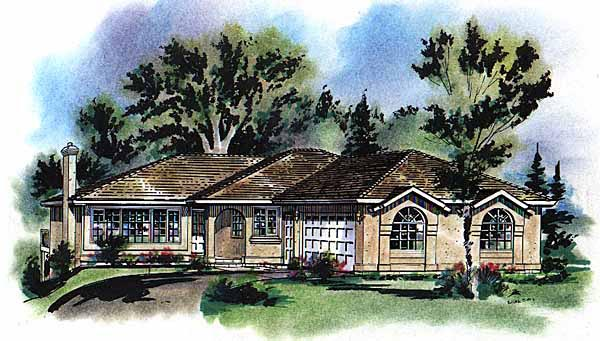 Mediterranean House Plan 58638 with 2 Beds, 2 Baths, 2 Car Garage Elevation
