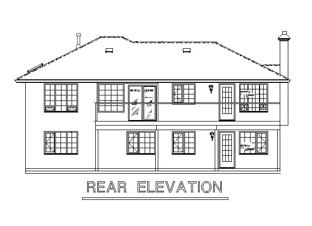 Mediterranean House Plan 58638 with 2 Beds, 2 Baths, 2 Car Garage Rear Elevation