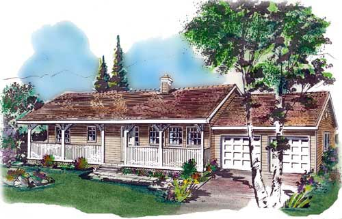Country One-Story Elevation of Plan 58640