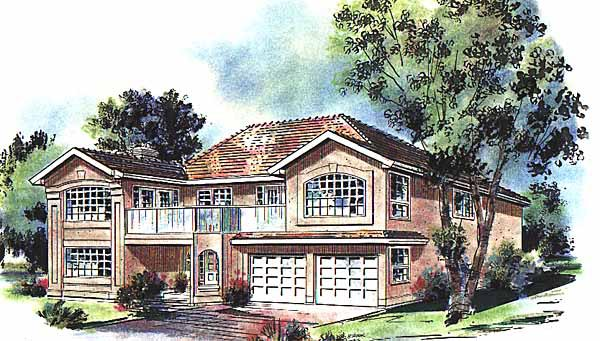 European House Plan 58642 with 3 Beds, 2 Baths, 2 Car Garage Elevation