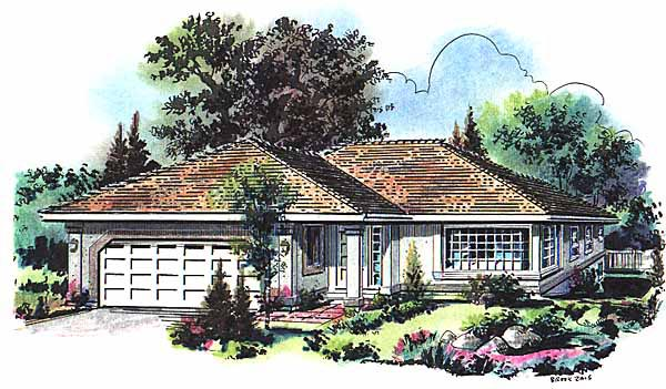Florida House Plan 58645 with 3 Beds, 2 Baths, 2 Car Garage Elevation