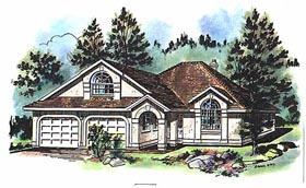 Ranch House Plan 58646 with 3 Beds, 2 Baths, 2 Car Garage Elevation