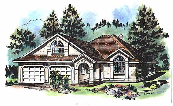 One-Story, Ranch House Plan 58646 with 3 Beds, 2 Baths, 2 Car Garage Elevation
