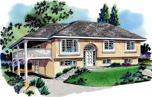 European House Plan 58649 with 3 Beds, 1 Baths, 2 Car Garage Elevation