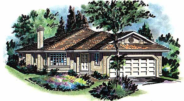 Florida House Plan 58653 with 3 Beds, 2 Baths, 2 Car Garage Elevation