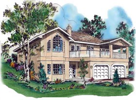 European House Plan 58655 with 3 Beds, 3 Baths, 2 Car Garage Elevation