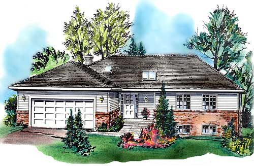 Ranch House Plan 58665 with 2 Beds, 2 Baths, 2 Car Garage Elevation
