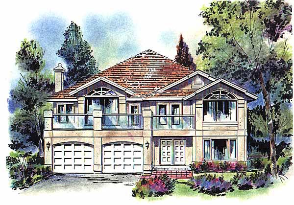 European House Plan 58668 with 5 Beds, 3 Baths, 2 Car Garage Elevation