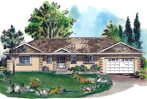Florida House Plan 58671 with 2 Beds, 2 Baths, 2 Car Garage Elevation