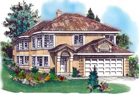 European House Plan 58673 with 3 Beds, 2 Baths, 2 Car Garage Elevation
