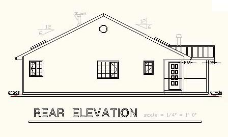 Ranch House Plan 58675 Rear Elevation