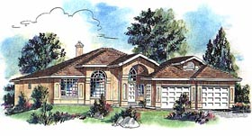 Florida House Plan 58676 with 2 Beds, 2 Baths, 2 Car Garage Elevation