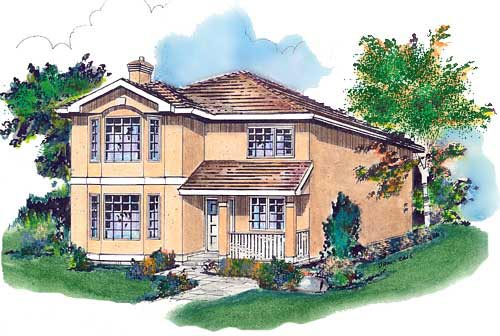 European House Plan 58679 with 4 Beds, 3 Baths Elevation