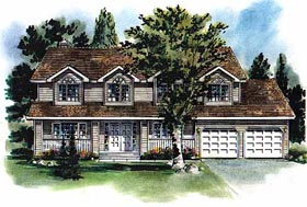 Country House Plan 58683 with 4 Beds, 3 Baths, 2 Car Garage Elevation