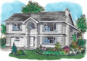 House Plan 58686 | European Style Plan with 1288 Sq Ft, 3 Bed, 2 Bath, 2 Car Garage Elevation