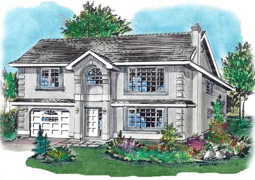 European, Narrow Lot House Plan 58686 with 3 Beds, 2 Baths, 2 Car Garage Elevation