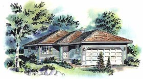 Contemporary House Plan 58692 with 3 Beds, 1 Baths, 2 Car Garage Elevation