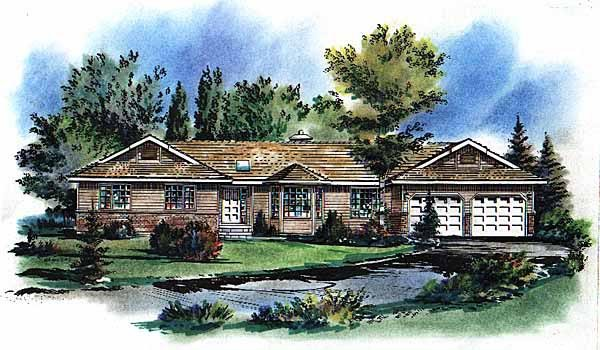 One-Story Elevation of Plan 58693