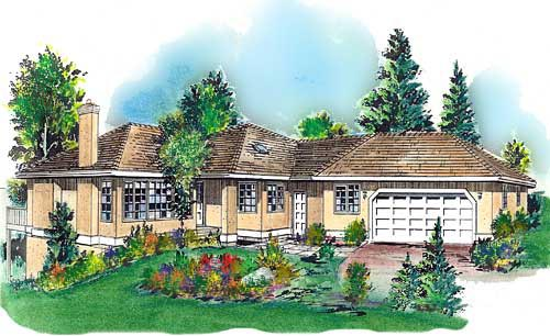 Florida, One-Story House Plan 58699 with 3 Beds, 2 Baths, 2 Car Garage Elevation