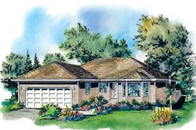 Ranch House Plan 58700 with 3 Beds, 2 Baths, 2 Car Garage Elevation