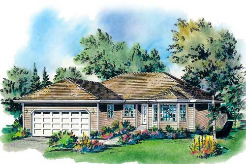 One-Story, Ranch House Plan 58700 with 3 Beds, 2 Baths, 2 Car Garage Elevation