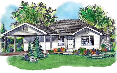 One-Story, Ranch House Plan 58702 with 3 Beds, 2 Baths, 2 Car Garage Front Elevation