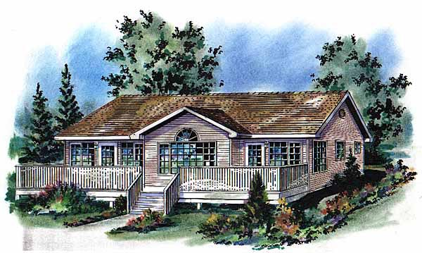 Narrow Lot One-Story Ranch Elevation of Plan 58707