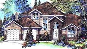 European House Plan 58710 with 3 Beds, 3 Baths, 2 Car Garage Elevation