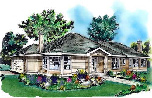 Contemporary, Narrow Lot, One-Story House Plan 58713 with 2 Beds , 2 Baths , 2 Car Garage Elevation