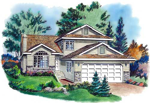 House Plan 58715 | European Style Plan with 1921 Sq Ft, 3 Bedrooms, 3 Bathrooms, 2 Car Garage Elevation