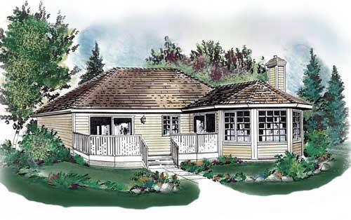 Contemporary, Narrow Lot, One-Story House Plan 58716 with 2 Beds , 1 Baths Elevation