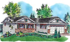 Ranch House Plan 58717 with 3 Beds, 2 Baths, 2 Car Garage Elevation