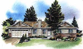 One-Story , Ranch House Plan 58718 with 3 Beds, 2 Baths, 2 Car Garage Elevation