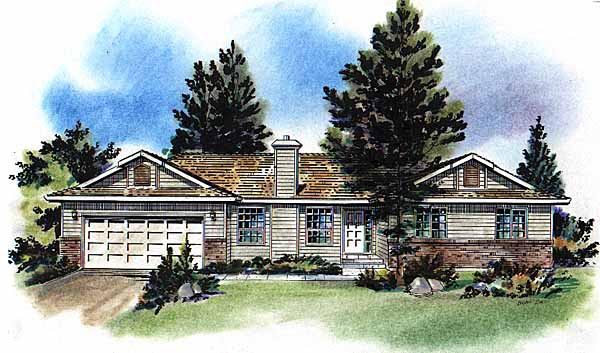 One-Story, Ranch House Plan 58718 with 3 Beds, 2 Baths, 2 Car Garage Elevation