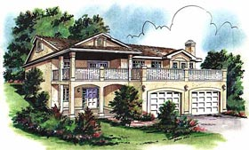 House Plan 58720 | European Style Plan with 1161 Sq Ft, 3 Bedrooms, 1 Bathrooms, 2 Car Garage Elevation