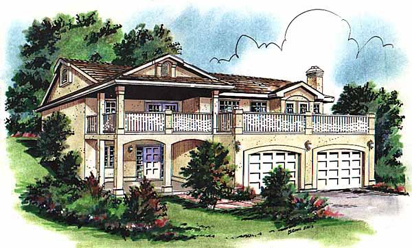European House Plan 58720 with 3 Beds, 1 Baths, 2 Car Garage Elevation