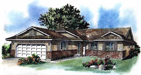 Ranch House Plan 58721 Elevation