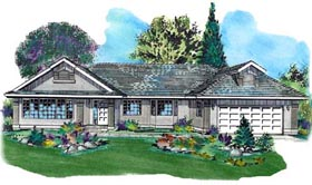 Ranch House Plan 58725 with 2 Beds, 2 Baths, 2 Car Garage Elevation