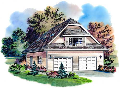 Garage Plan 58726 | Contemporary Style Plan with 566 Sq Ft, 1 Bedrooms, 1 Bathrooms, 2 Car Garage Elevation