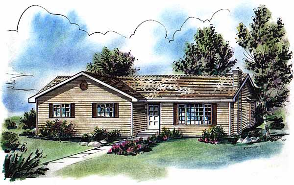 One-Story, Ranch House Plan 58735 with 3 Beds, 2 Baths Elevation