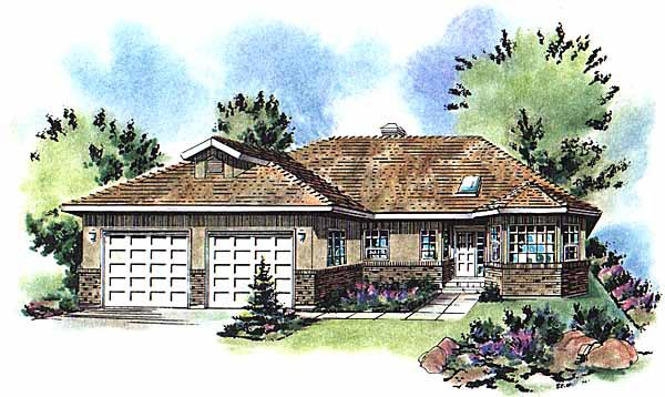 Ranch Elevation of Plan 58740