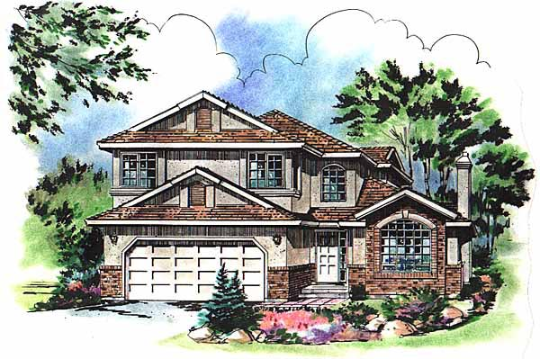 House Plan 58741 | European Style Plan with 2179 Sq Ft, 4 Bedrooms, 3 Bathrooms, 2 Car Garage Elevation