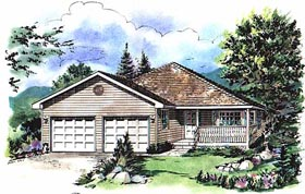 House Plan 58743 | Ranch Style Plan with 1375 Sq Ft, 3 Bedrooms, 2 Bathrooms, 2 Car Garage Elevation