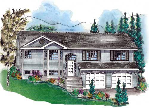 One-Story, Ranch House Plan 58746 with 3 Beds, 2 Baths, 2 Car Garage Elevation