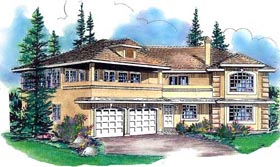 European House Plan 58748 with 4 Beds, 3 Baths, 2 Car Garage Elevation