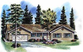 Ranch House Plan 58754 with 3 Beds, 2 Baths, 2 Car Garage Elevation
