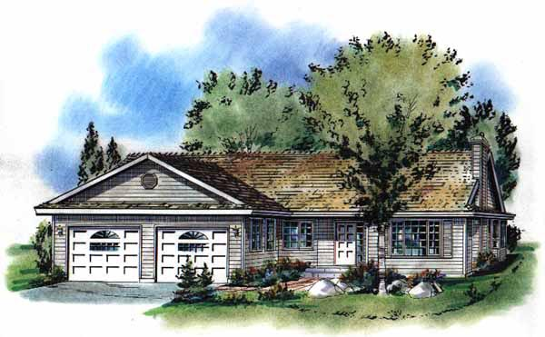 One-Story, Ranch House Plan 58755 with 3 Beds, 2 Baths, 2 Car Garage Elevation