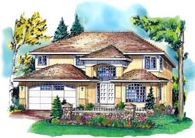 European House Plan 58756 with 4 Beds, 3 Baths, 2 Car Garage Elevation