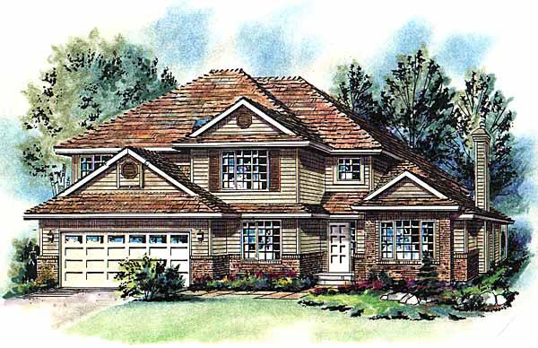 European House Plan 58757 with 5 Beds, 3 Baths, 2 Car Garage Elevation